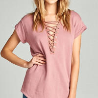 Dusty Pink Lace Up Top