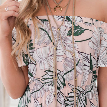 Savor The Stars Suede Multi-Layer Necklace (Taupe and Gold)