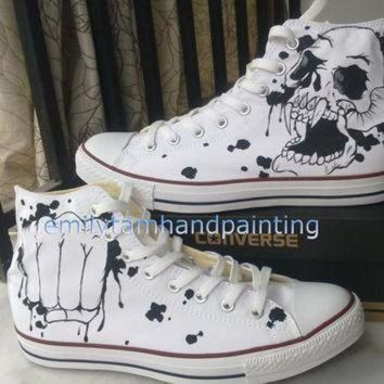DCCKGQ8 cool fashion skull design custom converse chuck taylors