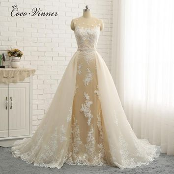 Wedding Dresses With Detachable Tail New Champagne White Color Custom Made New Mermaid Wedding Dress