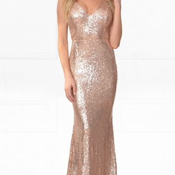 Indie XO Elegant Encounter Gold Sequin Sleeveless Spaghetti Strap V Neck X Back Split Side Maxi Dress