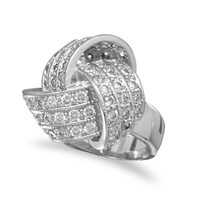 Rhodium Plated Brass Love Knot Ring with Cubic Zirconias