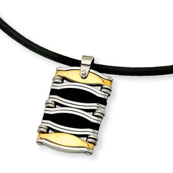 Stainless Steel, Gold Tone and Rubber Advanced Dog Tag Necklace