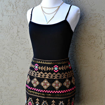 Tribal Embroidered Skirt - Pink