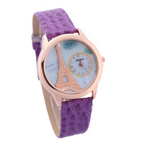 Unisex Rhinestone Eiffel Tower Quartz Watch with Purple Leather Strap