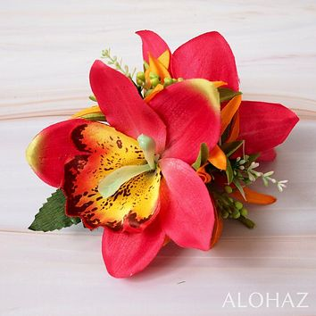 Red Queen Orchid Hawaiian Flower Hair Clip