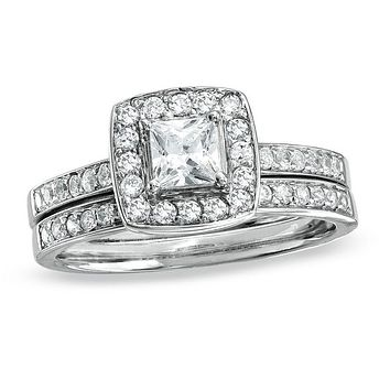 3/4 CT. Princess-Cut Diamond Halo Bridal Engagement Ring Set 14K White Gold