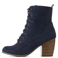 Navy Chunky Heel Lace-Up Booties by Charlotte Russe