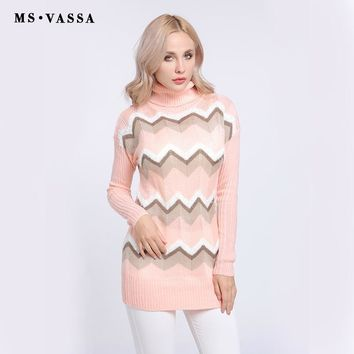 New Sweaters Ladies Knitted stripe Women pullovers Autumn Winter Turtleneck long sleeve jumpers
