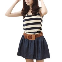 Striped Scoop Neck Sleeveless Stretchy Waist Dress for Women