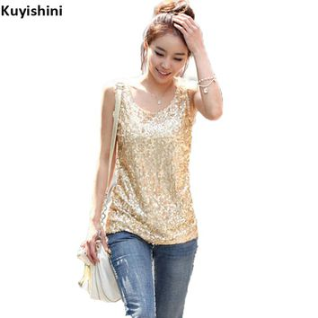 Korean Women SequinsTop Summer Plus Size 4XL 3XL Gold Sequined Bling Bling Vest Shirt Ladies Sleeveless Tee Loose Top