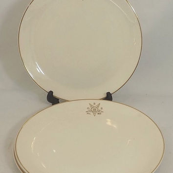 4 Masonic Order of Eastern Star Dinner Plates, No 282, Vintage Canonsburg China, Cream with Gold Trim