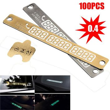 100Pcs / Set Telephone Number Temporary Car Parking Card 3D Phone Number Card Plate Sucker Car Body Sticker With Night Luminous