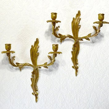 Hollywood Regency Decor Brass Candle Sconces- Ornate Vintage Wall Sconces Matched Pair, Art Nouveau Home Decor