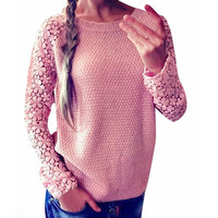 Long Sleeve O-Neck Lace Crochet Patchwork Casual Pullover