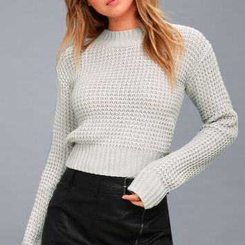 Campfire Cozy Light Grey Cropped Sweater