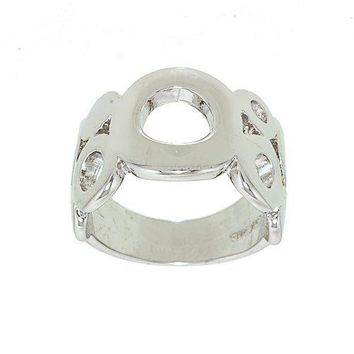 Big and Little Circles Wide Rhodium Plated Band Style Silvertone Fashion Ring