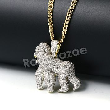 Hiphop Iced Out Gorilla Brass Pendant W/ 5mm 18-30 inches Cuban Chain