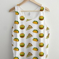 Pizza Cheeseburger Taco Full Print Cartoon T Shirt