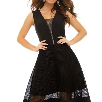 Black Mesh Splice Sleeveless Fit-and-flare Dress