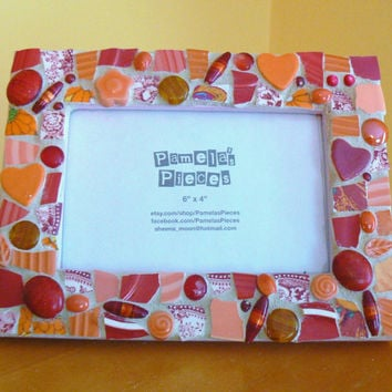 Sunset Color Reds Broken China  Mosaic Picture Frame