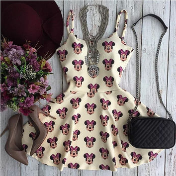 Sleeveless Hot Sale Women's Fashion Round-neck Print One Piece Dress [9463923277]