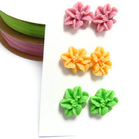 Simple Pretty  set of 3pairs Floral Resin  Post Earrings- Mixed colors - Feminine Pretty-Sweet 16-Great Gift
