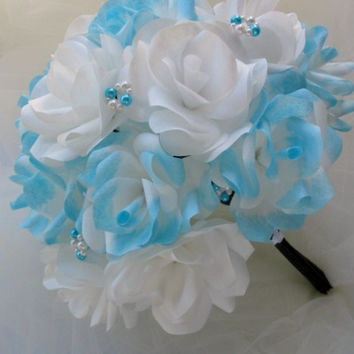 Ready to Ship** Paper Flower Bouquet. Aqua blue, teal blue, turquoise blue, wedding bouquet, rose bouquet, bride bouquet