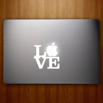Apple Love Decal - Robert Indiana Love Sculpture - Vinyl MacBook Decal