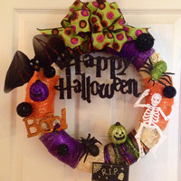 Halloween Wreath, Halloween Party Decoration, Jack-o-lantern Halloween Wreath, Pumpkin Wreath, Trick or Treat Decoration, Door Wreath