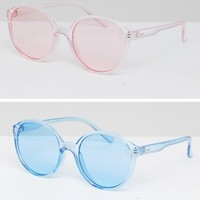 ASOS 2 Pack Plastic Round Sunlgasses In Coloured Lens at asos.com