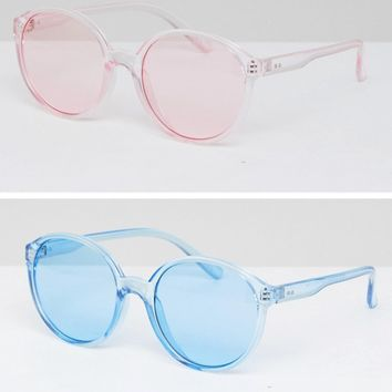ASOS 2 Pack Plastic Round Sunglasses In Coloured Lens at asos.com