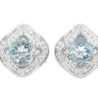 Genuine Aquamarine Round Stud Earrings .925 Sterling Silver Rhodium Finish