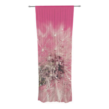 "Beth Engel ""Pink Twilight"" Magenta Dandelion Decorative Sheer Curtain"