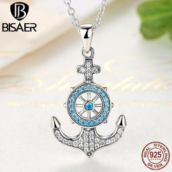 Genuine 925 Sterling Silver Sky Blue Crystal Anchor & Rudder Pendants & Necklaces Women Boat Helm Sterling Silver Jewelry GXN061