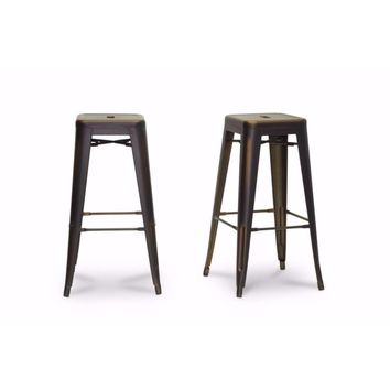 French Industrial Modern Bar Stool in Antique Copper (Set of 2) By Baxton Studio