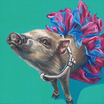 Mini Pig Portrait, custom pet portrait, mini pig painting, pig drawing, 10x10 on a wooden canvas using acrylic