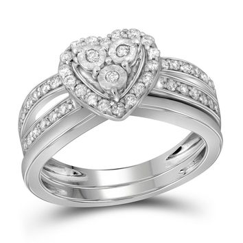 10kt White Gold Womens Diamond Heart Bridal Wedding Engagement Ring Band Set 3/4 Cttw