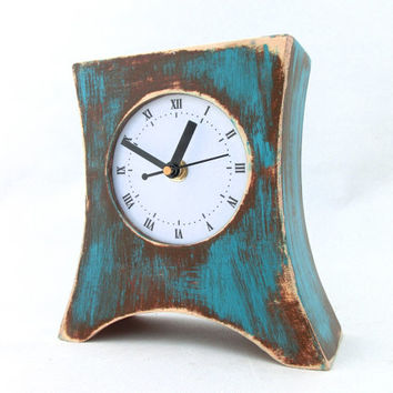 Wood CLOCK Arrow brown / turquoise