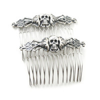 Necromance Hair Combs - Sexy Macabre Gothic Hair Pieces with Antiqued Sterling Silver Plated Skull Heads - by Ghostlove