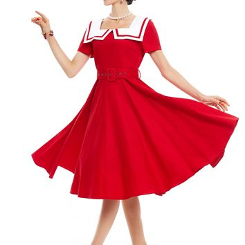 Chicloth Red Sailor collar Belt A-Line Vintage Dress