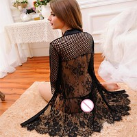 sexy lingerie black lace robe hot sexy costumes open chest underwear women Exotic Apparel Baby Dolls intimates pajamas slips