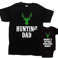 Father Son Shirts Matching Family Outfits Fathers Day Gift Daddy And Baby Boy Dad And Son T Shirt Hunting TShirts Hunter Clothes-SA1077-1078