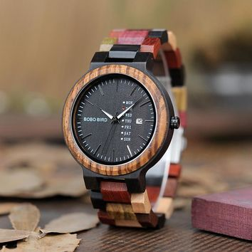 BOBO BIRD LP14 Men Wristwatches Miyato Japan Movement Wooden Watches with Colorful Wood Strap Classic Week Display Relogio