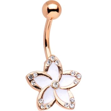 Clear Gem Rose Gold Plated White as Falling Snow Flower Belly Ring