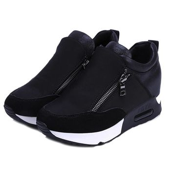 Running Hiking Thick Bottom Platform Wedges Shoes Woman sports Sneakers Spring Autumn Fashion Ladies black students shoes