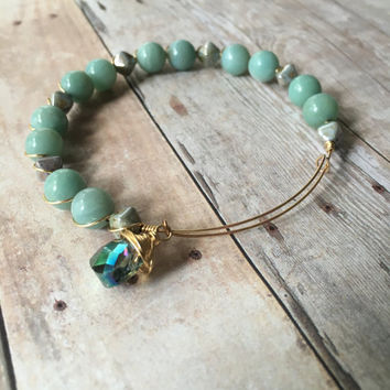 Amazonite Beaded Bracelet Amazonite Wire Expandable Bracelet Amazonite Gemstone Bracelet Amazonite Gemstone Stacking Wire Bangle (MBX224)