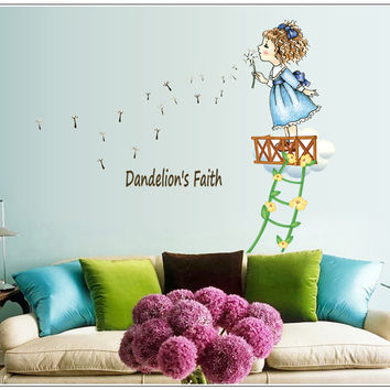 Blow the dandelion girl children room of household adornment wall stickers on the wall SM6