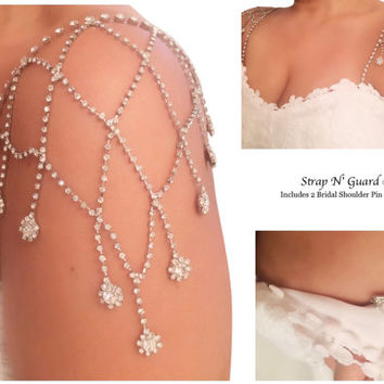 STUNNING Wedding Dress Straps, Shoulder Dazzling Tier of Cascades Crystals Bridal Dress Straps for Strapless Gown