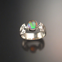 Moonstone and soft pink lab Opal Doublet ring Sterling Silver size 7